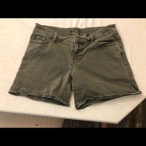 Bke olive green denim midi shorts 27